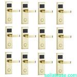 Door Lock With RFID Card Access Control - Gold - 11 Set