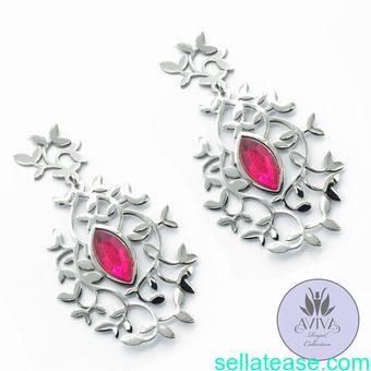Ruby branch earrings