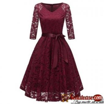 V Neck Bow Belted A Line Dress for sale in Nigeria