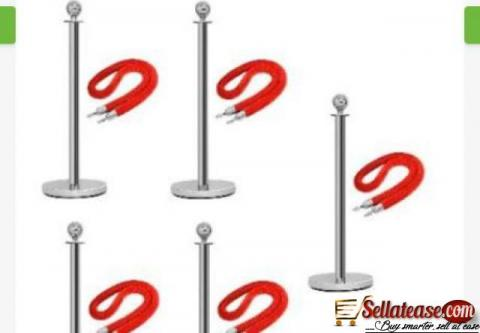 Rope Type Stanchion Crowd Queue Control Barrier Post - 5 Poles + 5 Ropes by hiphen
