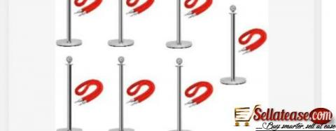 Rope Type Stanchion Crowd Queue Control Barrier Post - 6 Poles + 6 Ropes by hiphen