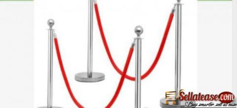 Rope Type Stanchion Crowd Queue Control Barrier Post - 6 Poles + 3 Ropes by hiphen