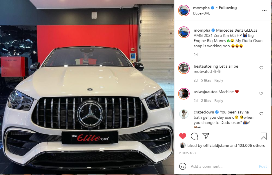 Mompha buys a 2021 Mercedes-AMG GLE63s